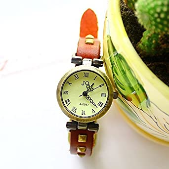 Amazon.com: Womens Roman Cow Leather Antique Watch Coffee ...