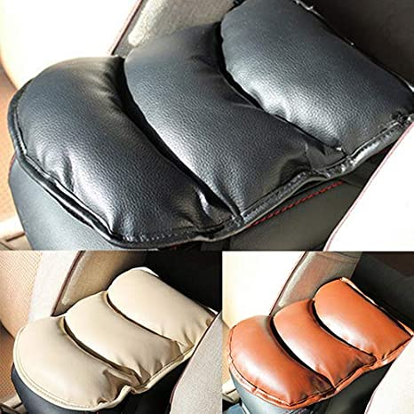 Brussels08 Car Soft Faux Leather Center Console Cover Armrest Pad Seat Covers Armrest Pillow Cushion Head Neck Rest Pillow Pad All Seasons Universal Cushion for Car Motor Auto Vehicle Black