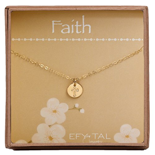 Efy Tal Jewelry Tiny Gold Filled Faith Cross Necklace, Small Simple Dainty Disc Pendant, First Communion Gift for Girls and Women -