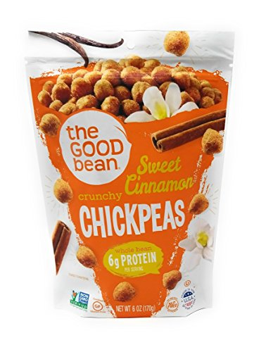 The Good Bean Chickpea Snacks, Sweet Cinnamon,  Gluten and Nut Free, 6 Ounce ()