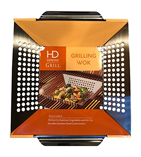 Stainless Steel Grilling Wok Basket - 12 x 12 Inches by HD