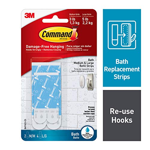 Command Bath Water Resistant Refill Strips, 2-Medium and 4-Large Strips -