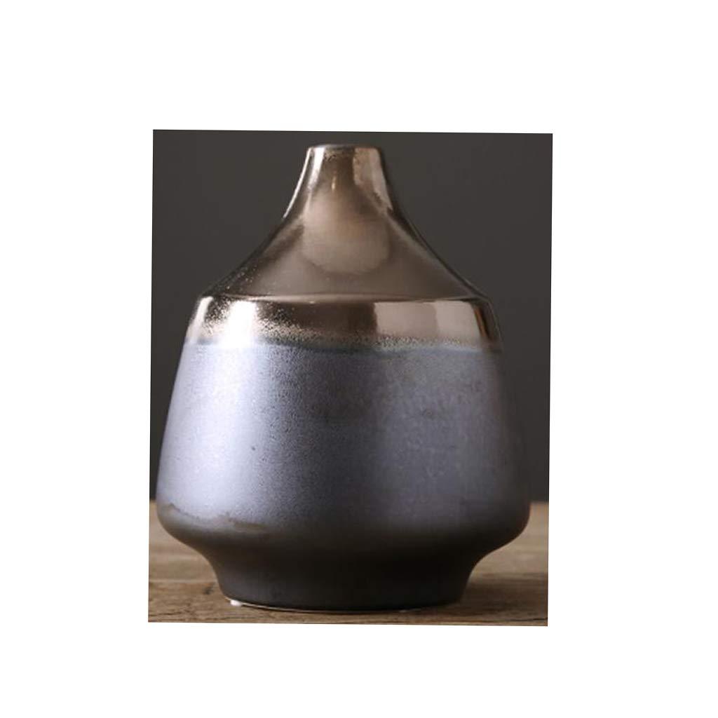 セラミック花瓶ホームドライフラワー装飾リビングルームテーブル花瓶装飾黒 QYSZYG (サイズ さいず : 4cm×19cm×23cm) B07RLZZQYX  4cm×19cm×23cm