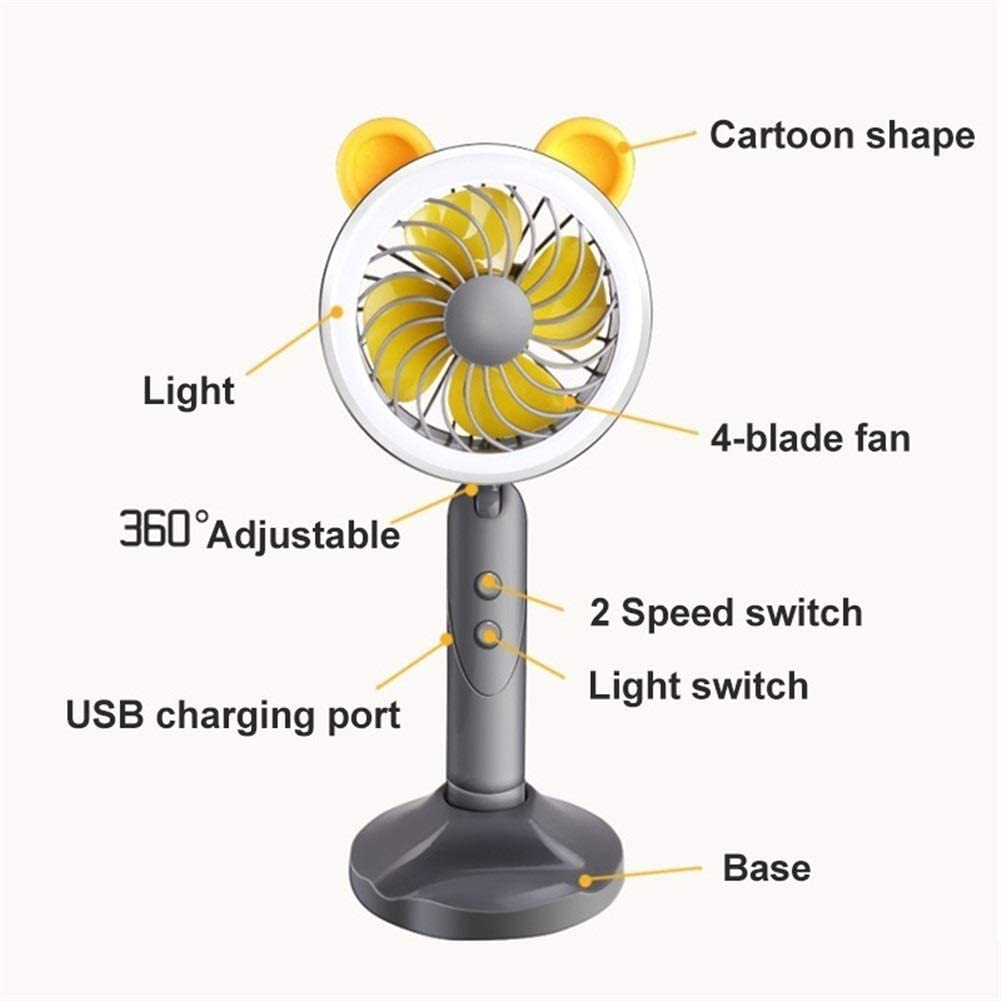 Color : Pink Shengjuanfeng USB Fans Cartoon Handheld Portable Fan Outdoor Travel Office Mini USB Rechargeable,with Table Lamp Adjustable 2 Speed Ventilator Desk//Table Cooling Fan for Home