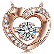 """DANCING HEART """"Beautiful Love"""" 925 Sterling Silver Rose Gold Plated Necklace ♥Dancing Stone♥ Allergy Free Jewelry with Delicate Gift Box ♥Mother's Day Gift♥"""