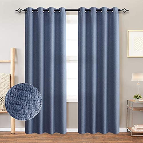 Vangao Blue Room Darkening Curtains Basket Weave Thermal Insulated Drapes for Bedroom Morderate Blackout with Grommet Top,Set of 2 Panels 52 x 84 Inch, Navy