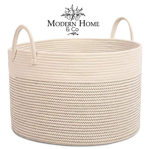 XXL Cotton Rope Basket 20x13.3 Woven Baby Laundry Baskets Storage Bins,Thread Hamper Decorative Clothes Wicker Bin with Long Handles Extra Large for Blanket,Pillows,toy,Coiled Handmade Bag Kids Room (Baskets Kitchen Furniture)