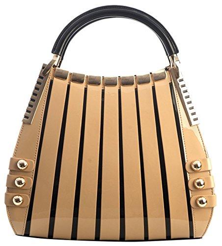 BRAVOHANDBAGS-Womens-Irina-Signature-Series-Leather-Handbag-Medium-BeigeCream