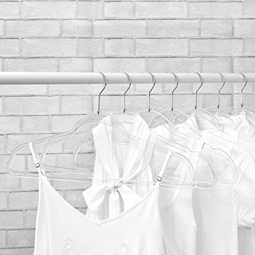 NEW EXCLUSIVE INNOVATION by Closet Complete: COMPLETELY CLEAR, Space Saving, INVISIBLE HANGERS, Ultra-Thin ACRYLIC HANGERS, CHROME Hooks, Set of 10