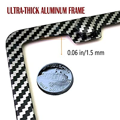 Carbon Fiber License Plate Frames - Metal Black Carbon Fiber License Plate Frames Covers, Front & Rear Aluminum License Tag Holder with License Plate Fastener Kit, Screw Caps Car Sound Deadeners: Automotive