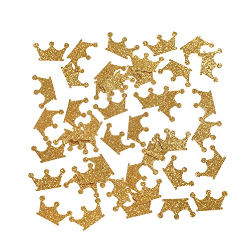 Ling's moment Gold Crown Confetti Table Confetti, Confetti Toss for Prince Princess Party Wedding First Birthday Party Baby Showers Festival Items Supplies - DIY Kits, 100 pcs of 1