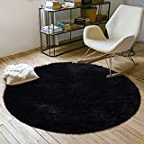 YOH Super Soft Round 4x4 Feet Area Rugs for Bedroom Kids Rooms Living Room Playroom Fluffy Boys Girls Baby Kids Children Rugs for Bedroom Home Nursery Décor Carpet for Women Popular Colors (Black)