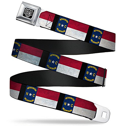 Buckle-Down Seatbelt Belt - North Carolina Flag Distressed/Black - 1.5