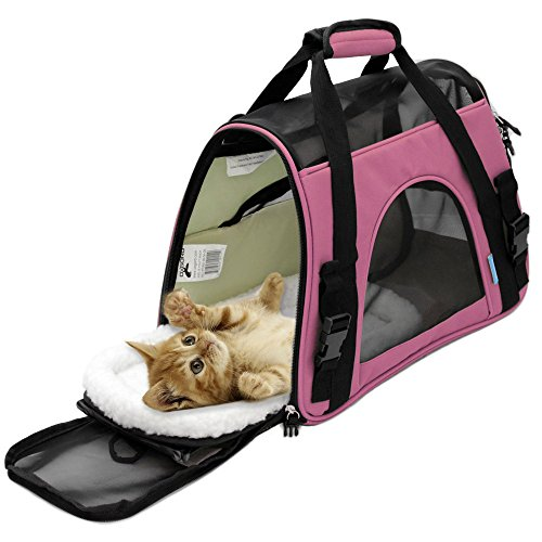 Large Pink Cat / Dog Carrier Soft Sided Comfort Pet Travel Tote Bag Airline Approved by Pet Heaven