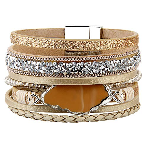 - AZORA Leather Cuff Bracelet Multi Rope Wrap Bangle with Pearl Metallic Heart Cuffs Bracelets for Women Teen Girl Gift (Beige-Leather Bracelet)