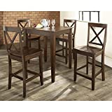 5 Pc Pub Dining Set w Tapered Leg and X-Back Stools in Mahogany