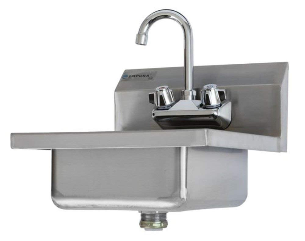 Empura Commercial 16-1/2'' Stainless Steel Wall Mount Washing Hand Sink and Faucet