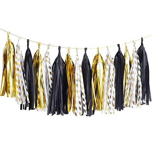 NICROLANDEE Black and Gold Tissue Paper Tassel Gold Foil Stripe Garland Tassel for Anniversary Party Decoration Graduation Wedding Bridal Shower Birthday Party Decor 15 Pcs Per Package -