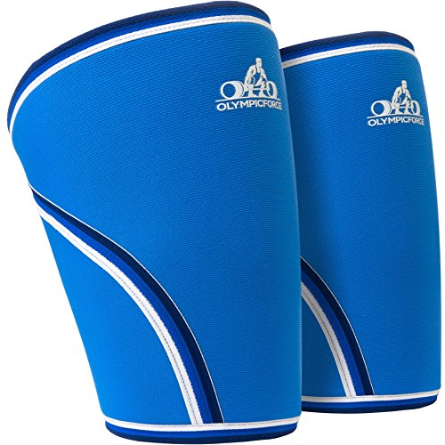 Knee Sleeves | 7mm Neoprene Support For Compression During Olympic Bar Weightlifting - Squats, Deadlifts, CrossFit and Other Exercises | OlympicForce  - 1 Pair (Medium)