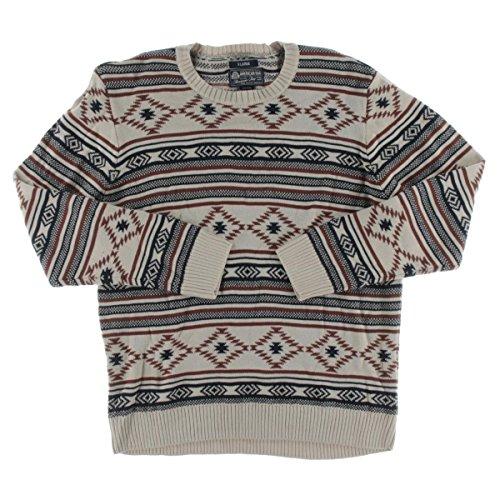 American+Rag+Mens+Ribbed+Trim+Printed+Pullover+Sweater+Tan+M