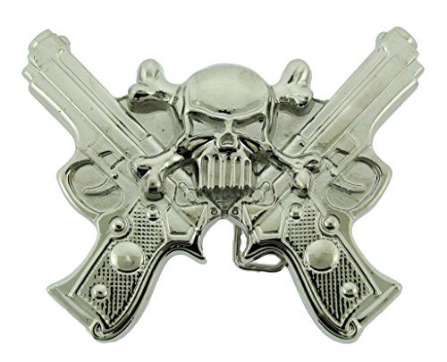 Skull Belt Buckle Crossguns Metal Silver Finsihed Fashion ()