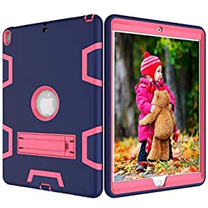 Hybrid Shockproof Stand Tablet Rubber Case Cover For iPad Pro 10.5 Inch 2017 Navy Blue and Rose Red