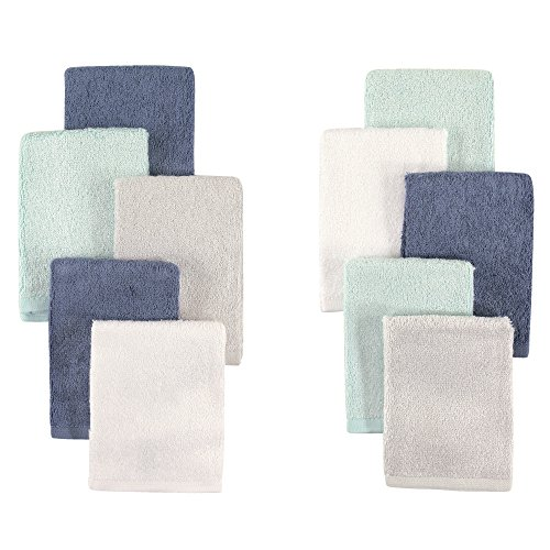 Little Treasure 10 Piece Rayon from Bamboo Washcloths, Blue & Teal
