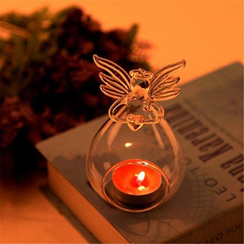 Hofumix Angel Candle Holder Crystal Glass Hanging Lantern Candle Holder Candlestick Succulent Plants Holder for Dinner Wedding Christmas Decorations
