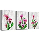 Wood Grain Background Canvas Wall Art for Living Room Bathroom Wall Decor for Bedroom 3 Piece Kitchen Wall Paintings Canvas Prints red Flowers Watercolor Painting Inspiration Home Decoration Artwork