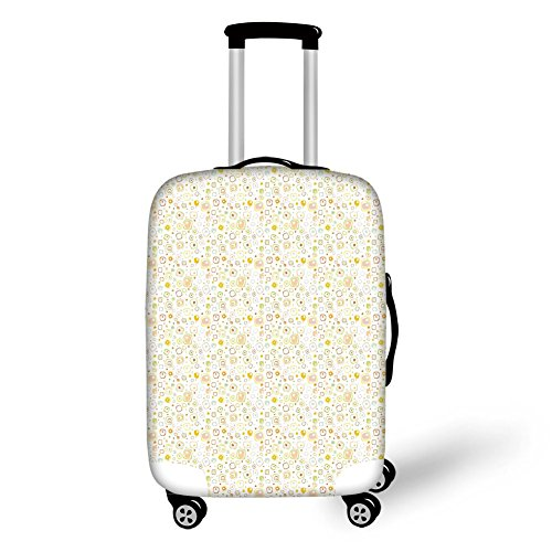 Travel Luggage Cover Suitcase Protector,Abstract,Harmonious Geometric Squares and Dots with Soft Color Palette Vintage Inspired,Multicolor,for Travel (Wheel Harmonious Colour)