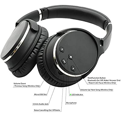 Axceed Wireless Headphones Active Noise Cancelling Bluetooth 4.0 Over-Ear Headset With Mic Studio 3D Stereo Surround Sound Earphones 20H Playtime Foldable Comfortable Wired Mode For Cellphone, PC, TV