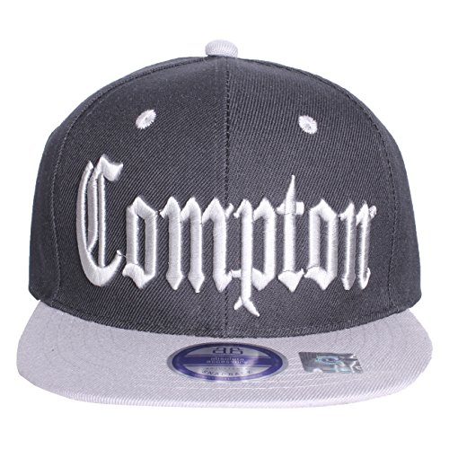 a1c800d8e2a Compton Flat Bill Visor California Republic Adjustable Snapback - Black GrAY