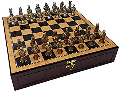"""Medieval Times Crusades Knight Chess Set Gold & Silver Busts W/ High Gloss Walnut & Birdseye Maple Color Storage Board 17"""""""