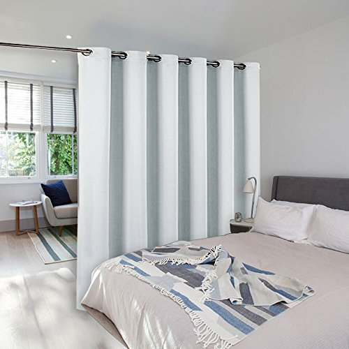 White Heavy Duty Draw Slide - NICETOWN Room Dividers Curtains Screens Partitions, Room Darkening Grommet Curtains Room Divider for Bookcase, Heavy - Duty Blackout Privacy Curtains (1 Pc, 10ft Width x 8ft Length, Greyish White)