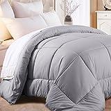 Image of Balichun Luxury Duvet Insert Goose Down Alternative Quilted Comforter with Corner Tabs - Hypoallergenic, Queen, Gray