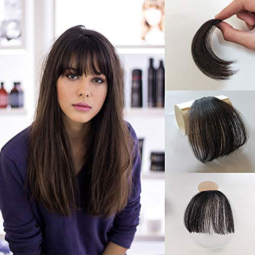 Vowinlle Human Hair Bangs Air Fringe Remy Human Hair Pieces Front #4 Dark Brown Clip in Hair Fringe Hair Extensions without Hair Temples