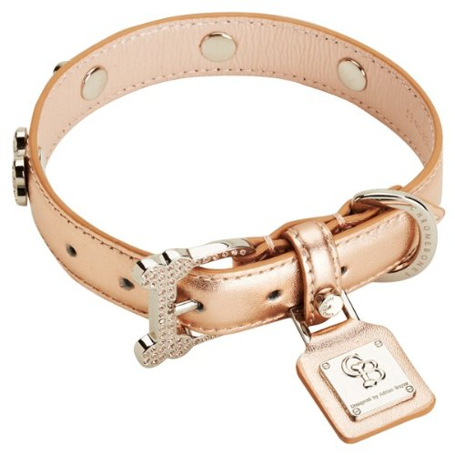 Chrome Bones Oro Diamonds LTD Pet Collar, X-Small, Rose Gold Crystal Bone Leather