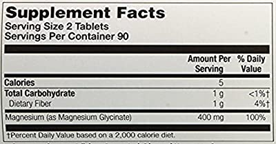 Magnesium Glycinate 400mg 180 tablets (Pack of 2) Kal 180 Tabs