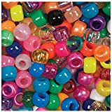 Beads Unlimited 6 x 8 mm Plastic Barrel Pony Mix, Pack of 500, Multi-Colour