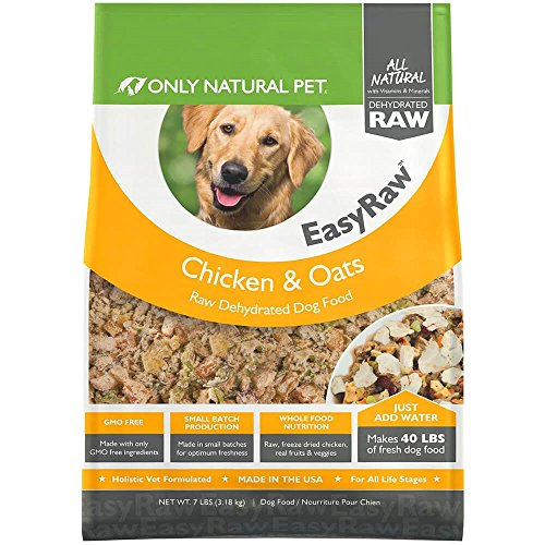 Only Natural Pet EasyRaw Human Grade Dehydrated Raw Dog Food Formula That Contains Real Wholesome Nutrition, Low Glycemic, Non-GMO - Chicken & Oats Flavor - 7 lb Bag (Makes 40 lbs)