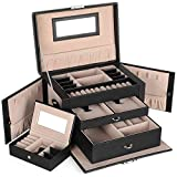 SONGMICS Jewelry Box, Girls Jewelry Organizer, Mirrored Mini Travel Case, Lockable, Black