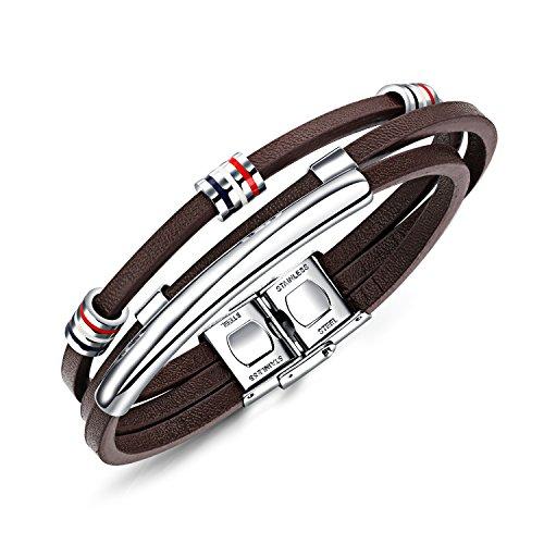 BABYEN OPK Multilayer Brown Leather Bracelet for Men Handmade Braided Rope French Flag Color Bead Male Warp Bracelet Gift(Brown) - Bracelet Rope French