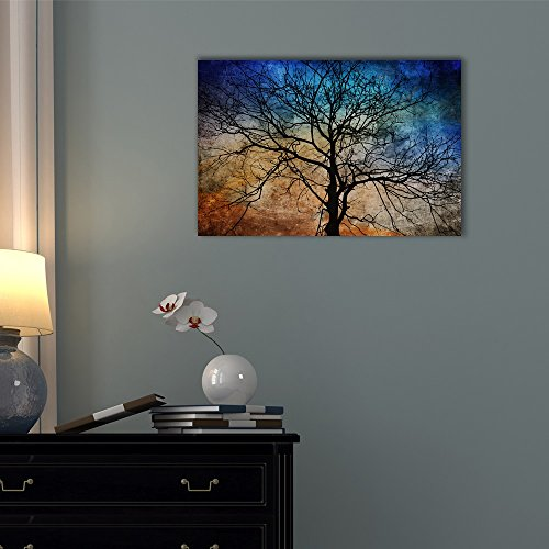 Wall26 Canvas Wall Art - Black Tree Branches on Abstract Colorful Background - Gallery Wrap Modern Home Decor | Ready to Hang - 24x36 inches