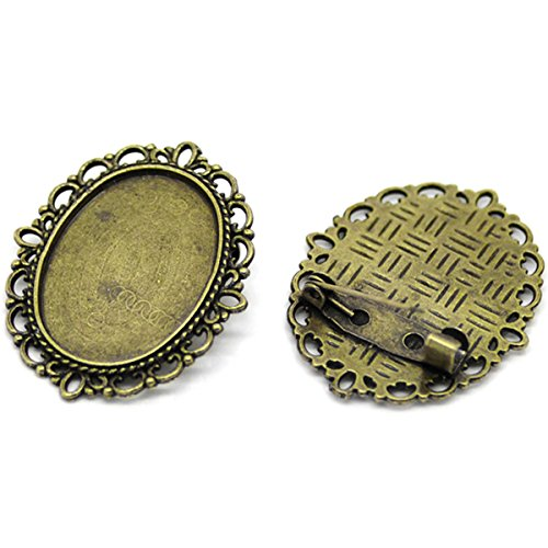 HOUSWEETY 10PCs Bronze Tone Oval Cameo Frame Setting Brooches 3.6x2.9cm(Fit 25x18mm) (Cameo Pin Oval)