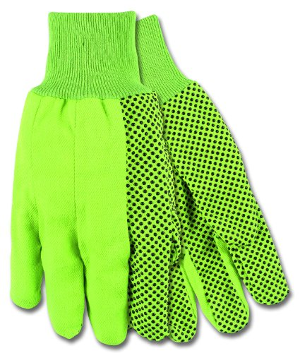 Mens Pvc Dotted Canvas - MCR Safety 8808G High Visibility PVC Dotted Canvas Standard Weight Knit Wrist Men?s Gloves with Straight Thumb, Green, Large, 1-Pair