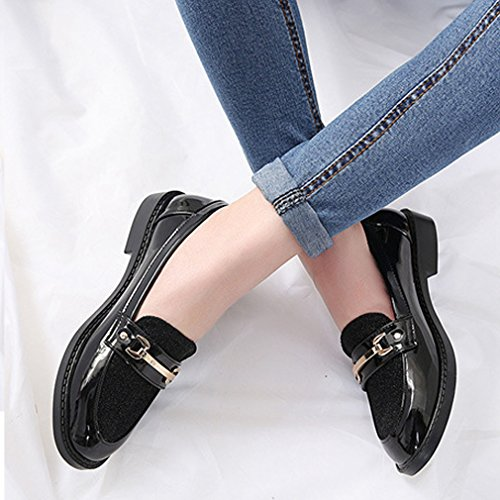 Shoes Round Slip On Buckle Toe Heels Loafer Low Low Metal Top Hoxekle Color Stitching Black Womens 7wpPxzq6