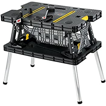 Keter Folding Compact Workbench Sawhorse Work Table with Clamps 1000 lb Capacity