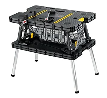 Keter Folding Compact Workbench Sawhorse Work Table With Clamps 1000