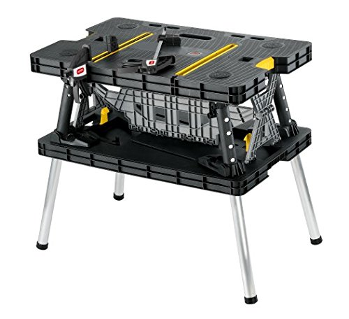 Keter Folding Compact Workbench Sawhorse Work Table with Clamps 1000 Lb - Drawer 3 Base Garage Pro
