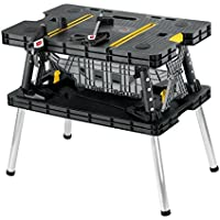 Keter Folding Compact Workbench Sawhorse Work Table with Clamps